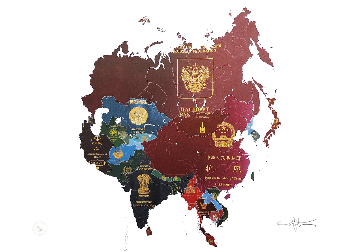 Map Of Asia During The Cold War.Passport Series Yanko Tihov